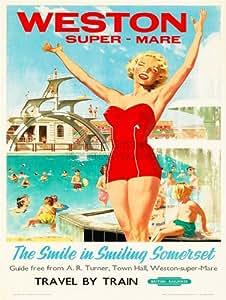 Travel Weston Super Mare Somerset Uk Pool Sun Swim Fun Train Poster Bb8473b Prints