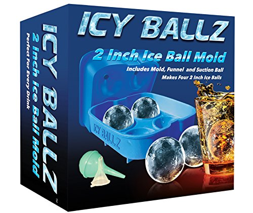 Silicone Ice Ball Maker Mold - Makes Four Giant 2 Inch Ice Balls - Slow Melting For Lasting Flavor - Whiskey Ice Ball Maker Tray -1 Year Guarantee - by Icy Ballz (Ice Ball Maker Mold Icy Cool compare prices)