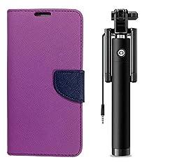 Novo Style Book Style Folio Wallet Case Samsung Galaxy j2 2016 Purple + Wired Selfie Stick No Battery Charging Premium Sturdy Design Best Pocket SizedSelfie Stick