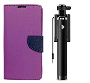 Novo Style Wallet Case Cover For Samsung Galaxy Core I8262 Purple + Wired Selfie Stick No Battery Charging Premium Sturdy Design Best Pocket Sized Selfie Stick