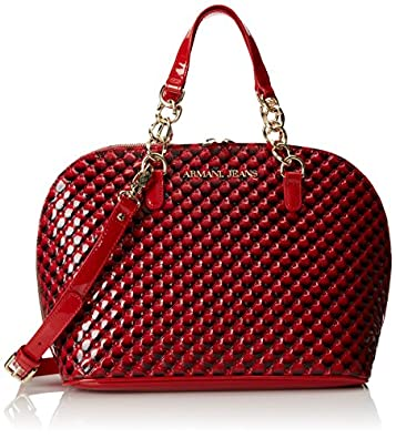 Armani Jeans Quilted Patent Bugatti Shoulder Bag,Red,One Size