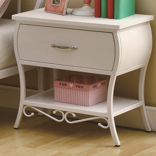 Bella Girls White Scroll Metal Night Stand