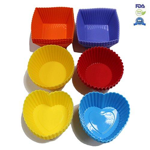 Fontaine 30 Pcs Heat Resistant Bakeware Set Silicone Multi Shape Cupcake Liner Molds Multicolor