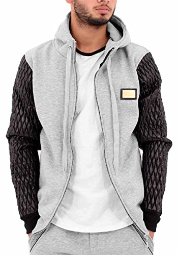 time-is-money-mens-boys-pu-bubble-sleeve-zip-up-hoodie-hip-hop-skater-designer-2xl-grey