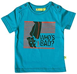 Buzzy Baby Boys' 9-12 Months Cotton T- Shirt (Bright Blue)
