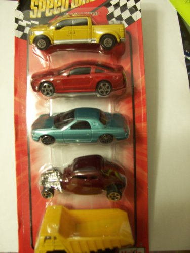 Speed Wheels ~ Set of 5 Vehicles (Ford F-350; Mustang GT; Teal Thunderbird ; 1934 Hot Rod; Dump Truck)