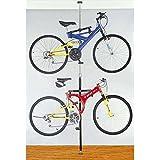 Stoneman Sports DBR-9161-CP Sparehand Q-Rack Freestanding Adjustable 2-Bike Storage Rack for All Frame Types, Chrome Finish