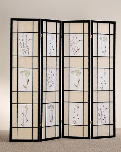 Black Finsh Frame 4 Panel Room Divider Wfloral Pattern On