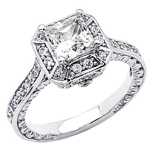 .925 Sterling Silver Princess-cut CZ Cubic Ziconia Solitaire with side-stone Ladies Wedding Engagement Ring Band (Size 5 to 9) - Size 6