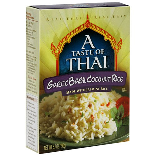 A Taste of Thai Garlic Basil Coconut Jasmine Rice, 6.7-Ounce Boxes (Pack of 6) by A Taste of Thai