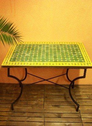 Arabischer Mosaik Tisch Marrakesch Grün/ gelb 100x60cm bestellen