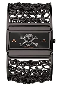 Betsey Johnson Women's BJ4100 Skull Dial Black Chain Bangle Watch