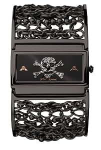 Betsey Johnson Women's BJ4100 Skull Dial Black Chain Bangle Watch