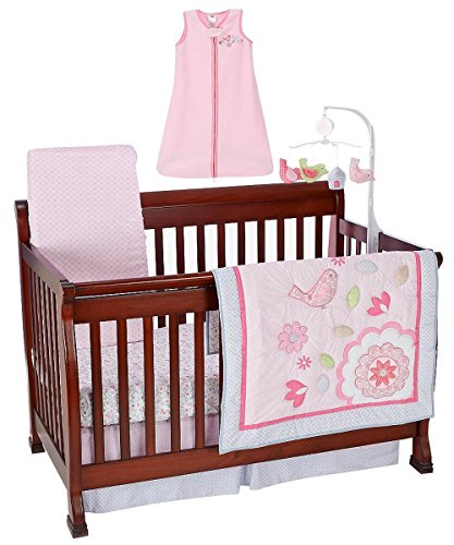 "Just Born ""Spring Birds"" 6-Piece Crib Bedding Set - Pink/Multi, One Size front-1066475"