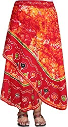 CAY Kutchi Print Embroidery Cotton Red Long Ethnic Wrap Around Skirt (Free Size)