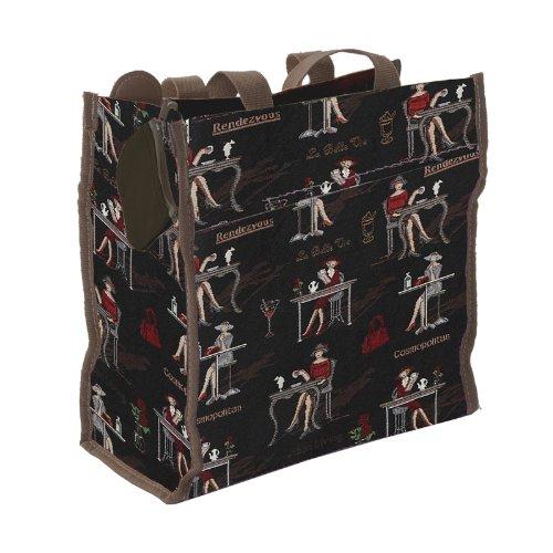 Ladies/Girls Shopper Tote Shoulder Shopping Bag Canvas /Coffee, tea or me? (Black)