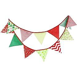 G2PLUS Schöne Wimpelkette 3.3M Wimpel Girlande mit 12 Wimpeln in Dreiecksform für Kindergeburtstagsfeier; Weihnachtsfest (Stars)