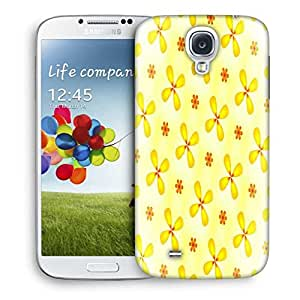 Snoogg Yellow Flower Printed Protective Phone Back Case Cover For Samsung S4 / S IIII