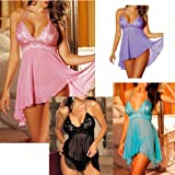 Sexy Lingerie Pink, Black, Blue& Purple Nightwear Babydoll Thong Set *Plus Size* in 6-22