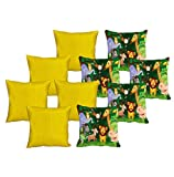 meSleep 5 Pc Jungle Digital Cushion Cover and 5 Pc Yellow Quilted Cushion Cover