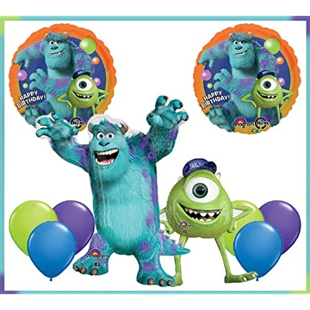 "One 34"" Sulley and one 34"" Mike Mylar Foil Balloon Two 18"" Mike and Sulley Birthday Mylar Foil Balloons Six 11"" Lime Green, Blue, and Purple Latex"