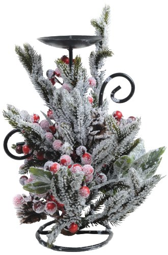 Kaemingk 685150 Kerzenständer dekoriert mit Beeren und Zapfen, gefrostet, PE, innen, Höhe 33 cm thumbnail