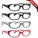 Reading Glasses for Women _ Best 4 Pack of Readers with 2 Black, 1 Red and 1 Grey_ Always Have A Stylish Look and Crystal Clear Vision Everywhere You Need It! _ Industry Leading 180 Day 100% Money-Back Guarantee SIZE: +2.25