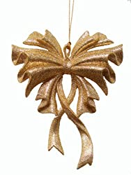 Seasons of Elegance Gold Glitter Bow Christmas Ornament 6""