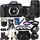 Canon EOS 7D DSLR Camera Triple Lens Bundle with Canon 18-55mm, 75-300mm & 50mm Lenses - 3814B004