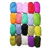 Paquete de 20 bolas de estambre de 25 gramos especiales para tejido, en acrílico y lana en colores variados por Curtzy TM