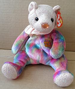 TY Beanie Babies Opal October Birthday Bear Stuffed Animal Plush Toy - 8 1/2 inches tall - Multi-Color with Peach Color Head