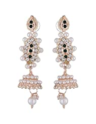 Bel-en-teno White & Green Alloy Earring Set For Women