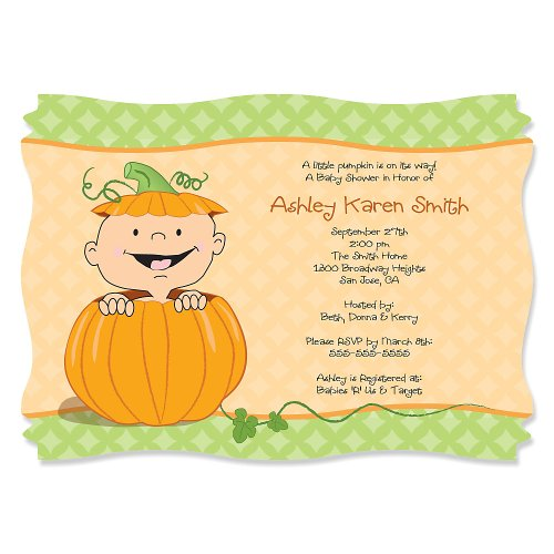 Little Pumpkin Caucasian - Personalized Baby Shower Invitations front-152237
