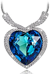 """Qianse """"Heart of the Ocean Pendant Necklace"""" Made with Heart Shape Blue SWAROVSKI ELEMENTS Crystal"""