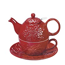Tea for One - Includes a Teapot and a Teacup - Red Poinsettia w/ Strainer 6.25 Tall - Comes Gift Boxed - New Christmas Holiday Decor