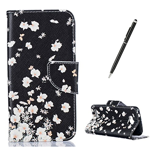 HUAWEI Y3 II Case with [Free Black Stylus],CaseHome Book Style Folio Magnetic Closure Stand Feature with Credit Card Slot Built-in Soft Rubber Black Bumper Full Body Protective Folding PU Leather Flip Wallet Case Cover Skin Shell for HUAWEI Y3 II with Unique Colourful Pattern Design-White Flowers