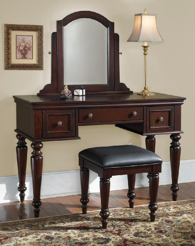 Home Styles 5537-72 Lafayette Vanity Table and Bench, Cottage Oak Finish