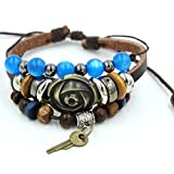 November's Chopin Unique Art Metal Key Pendant Rose Button and Beads Leather Adjustable Wrap Bracelet