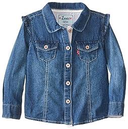 Levi\'s Baby Girls\' Denim Shirt, Iced Blue, 18 Months