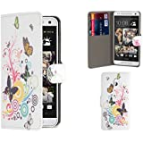 32nd® Designer book PU leather wallet case cover for HTC One Mini (M4) + screen protector and cleaning cloth - Colour Butterfly