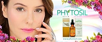 2.5% Retinol Serum - Strongest Retinol Available - With 20% Vitamin C & E, Hyaluronic Acid, Astaxanthin, CoQ10 - Diminish Wrinkles, Build Collagen, Tighten Sagging Skin, Fade Spots - Phytosil 1 OZ