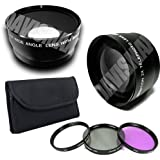 58MM 0.45X Wide Angle Lens + Macro & 2X Telephoto Lens Includes LIFETIME WARRANTY Lens Caps Lens Bag + 4 Piece Macro Close Up Lens Set 3 Piece Filter Kit DavisMAX FiberCloth For Canon EOS 50D 60D 5D MARK II 7D 1D & MORE!