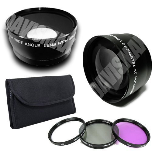 58Mm 0.45X Wide Angle Lens + Macro & 2X Telephoto Lens Includes Lifetime Warranty, Lens Caps, Lens Bag + 4 Piece Macro Close Up Lens Set, 3 Piece Filter Kit, Davismax Fibercloth For Canon Eos 50D 60D 5D Mark Ii 7D 1D & More!