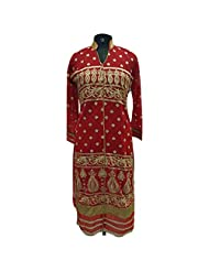 Red Rich Georgette Fabric Party Wear Kurti With Gold Design Work