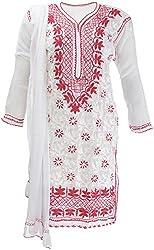 AKS Lucknow Women's Regular Fit Kurti (TK-80_44, WHITE , 44)