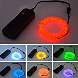 Generic Orange : 2m : Neon LED Light Glow EL Wire String Strip Rope Tube Car Dance Party W/ Controller