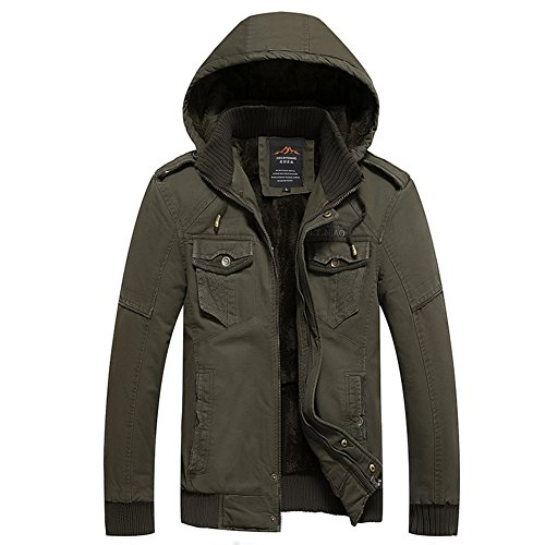 H.T.Niao Jacket8936C1 Men 's Casual and Cold Plus Cotton Jackets(Army Green,Size XL) (Kenmore Pedestal compare prices)