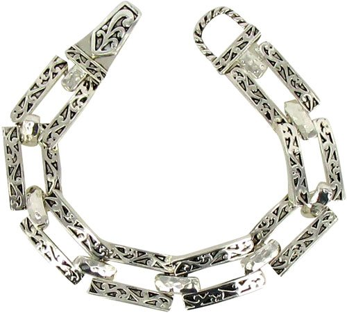Silvertone Scroll Design Rectangle Magnetic Link Bracelet Fashion Jewelry