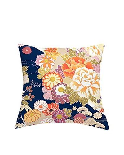 JAPAN MANIA by MANIFATTURE COTONIERE Cojín Con Relleno Extraíble Kimono Azul/Multicolor