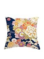 JAPAN MANIA by MANIFATTURE COTONIERE Cojín Con Relleno Extraíble Kimono (Azul/Multicolor)